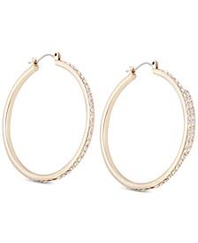 Gold-Tone Crystal Large Medium Hoop Earrings