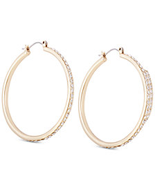 GUESS Gold-Tone Crystal Large Hoop Earrings