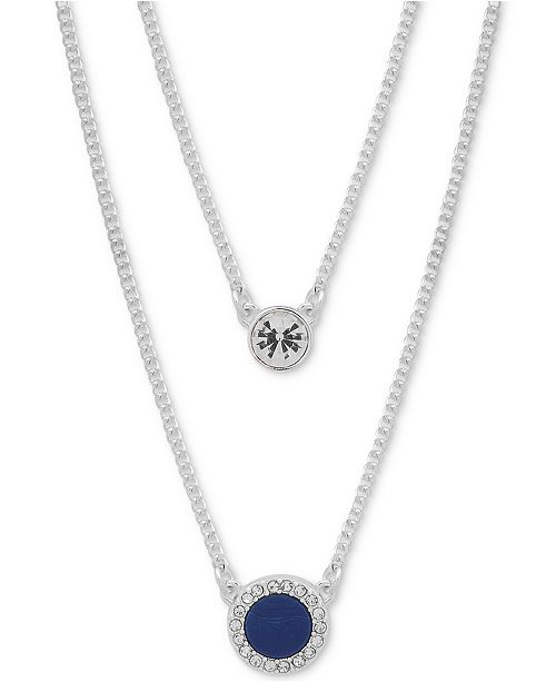 "DKNY Crystal & Stone Double-Row 16"" Necklace, Created for Macy's"