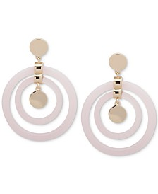 DKNY Gold-Tone Extra Large Resin Orbital Drop Earrings, Created for Macy's