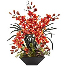 Cymbidium Orchid Silk Arrangement w/ Black Vase