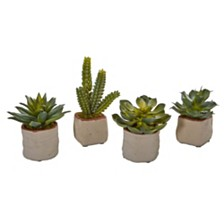 Nearly Natural Mixed Succulent Artificial Plant, Set of 4
