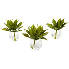 Nearly Natural Mini Agave Succulent w/Vase, Set of 3