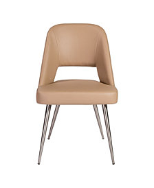 Blair Side Chair in Leatherette with Brushed Stainless Steel Legs - Set Of 2