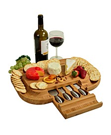 Malvern Deluxe Bamboo Cheese Board with Cracker Rim and 4 Tools