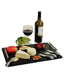 Sardo Natural Slate Cheese Board with 4 Tools, 2 Soapstone Chalk