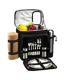 Picnic at Ascot Picnic Basket Cooler with Blanket, Coffee Set, Equipped for 2