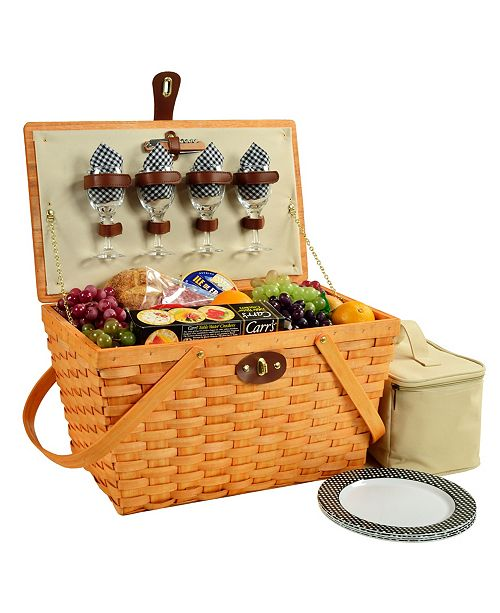 Picnic At Ascot Settler Traditional American Style Picnic Basket - Service for 4