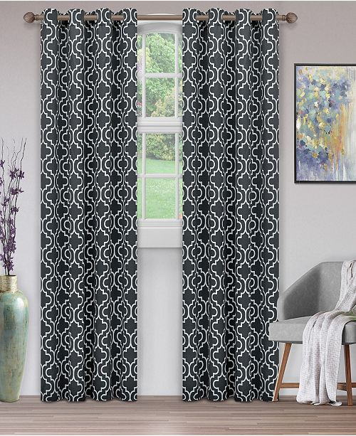 "Superior Soft Quality Woven, Trellis Collection Blackout Thermal Grommet Curtain Panel Pair, Set of 2, 52"" x 84"""