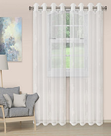 "Superior Lightweight Damask Sheer Curtain Panels, Set of 2, 52"" x 96"""
