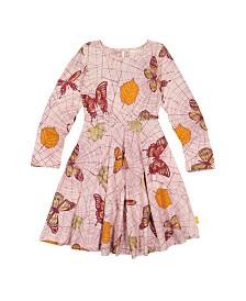 Masala Baby Girls Organic Cotton Misha Dress Spiderweb Powder