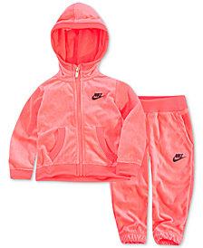 Nike Baby Girls 2-Pc. Velour Hoodie & Jogger Pants Set