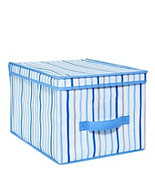 Kids Large Collapsible Storage Box in Painterly Blue Stripe