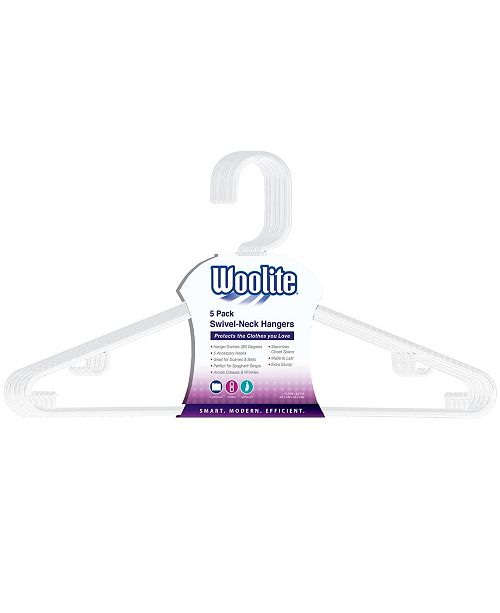 Woolite Swivel Neck Hangers 5 Pack in White
