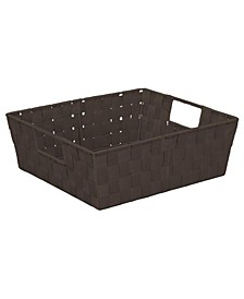 Large Woven Storage Bin in Chocolate