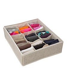 9 Compartment Drawer Organizer in Faux Jute