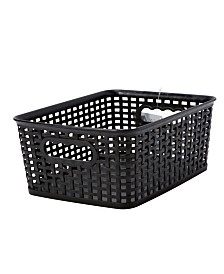 Simplify Textile Weave Medium Decorative Storage Tote in Black