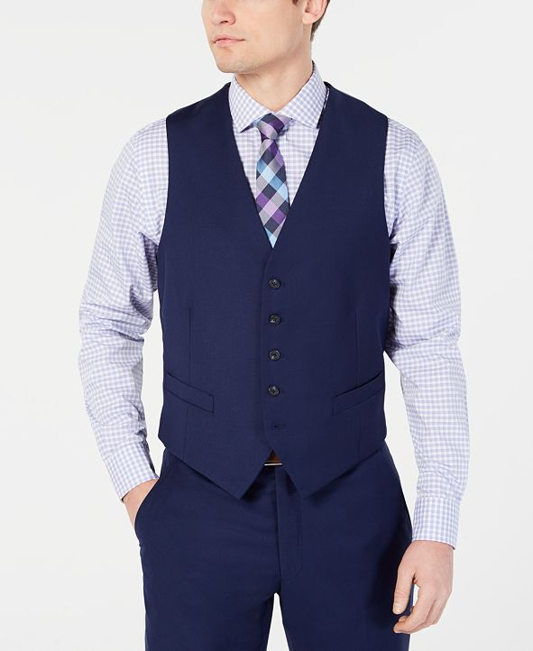 Perry Ellis Men's Portfolio Slim-Fit Stretch Navy Solid Suit Vest