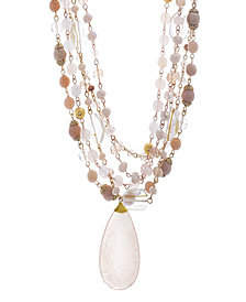 Catherine Malandrino Women's Pink Rhinestone Yellow Gold-Tone Multistrand Chain Necklace