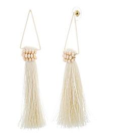 Women's White Rhinestone Dangling Yellow Gold-Tone White Tassel Earrings