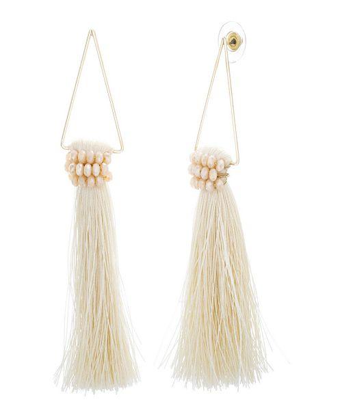 Catherine Malandrino Women's White Rhinestone Dangling Yellow Gold-Tone White Tassel Earrings