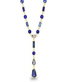 Women's Blue Geo Rhinestone Yellow Gold-Tone Y-Style Chain Necklace