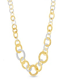 Women's 2-Tone Graduated Interlocked Circle Yellow Gold-Tone And Silver-Tone Link Necklace