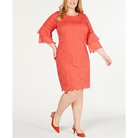 Alfani Women's Plus Size Ruffle-Cuff Floral-Lace Dress (Cranberry Spice)