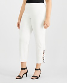 JM Collection Plus Size Loop-Hem Ankle Pants, Created for Macy's