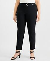 62c1ec32561 JM Collection Plus Size Tummy-Control Belt-Trim Pants