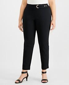 JM Collection Plus Size Tummy-Control Belt-Trim Pants, Created for Macy's