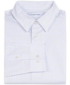 Calvin Klein Big Boys Slim-Fit Stretch Square-Print Dress Shirt