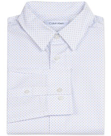 Calvin Klein Big Boys Slim-Fit Stretch Square-Print Dress Shirt