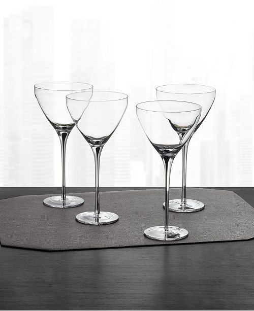 Hotel Collection CLOSEOUT! Black Stem Martini Glasses, Set of 4, Created for Macy's