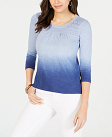 Style & Co Petite Crochet-Trimmed Cotton Dip-Dye Top, Created for Macy's