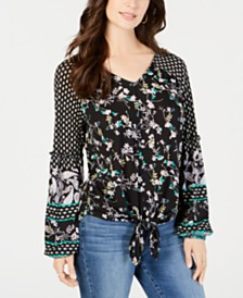 Style & Co Mixed-Print Tie-Front Top, Created for Macy's