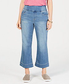 Style & Co Petite Pull-On Wide-Leg Cropped Jeans, Created for Macy's