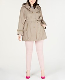 8b89ba562d5d2 Celebrity Pink Trendy Plus Size Hooded Trench Coat