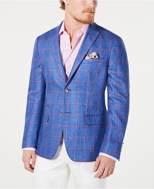 Tallia Orange Men's Slim-Fit Linen Blue/Red Windowpane Sport Coat