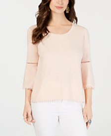 Style & Co Crochet-Trim Bell-Sleeve Top, Created for Macy's