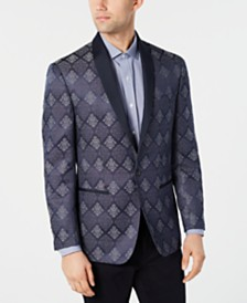 Ryan Seacrest Distinction™ Men's Modern-Fit Royal Blue Floral Dinner Jacket, Created for Macy's