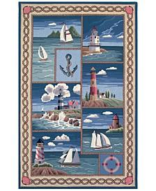 "KAS Colonial Coastal Views 1806 Blue 2'6"" x 4'6"" Oval Area Rug"
