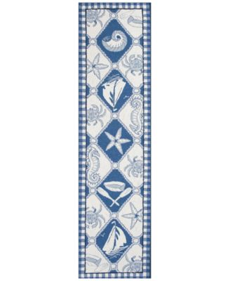 Colonial Nautical Panel 1807 Blue/Ivory 2' x 8' Runner Area Rug