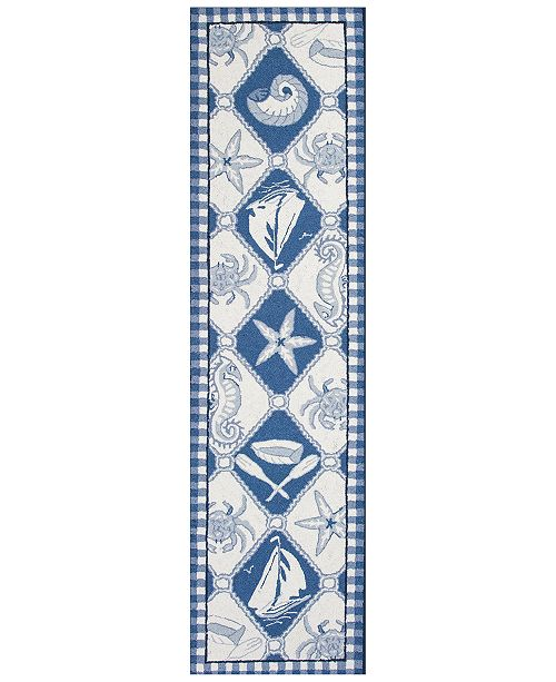 Kas CLOSEOUT! Colonial Nautical Panel 1807 Blue/Ivory 2' x 8' Runner Area Rug