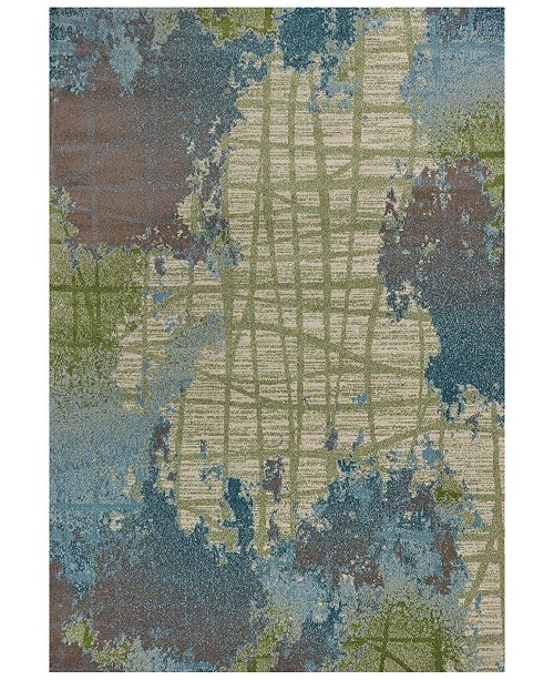 """Kas Illusions Visions 6207 Green/Blue 6'7"""" x 9'6"""" Area Rug"""
