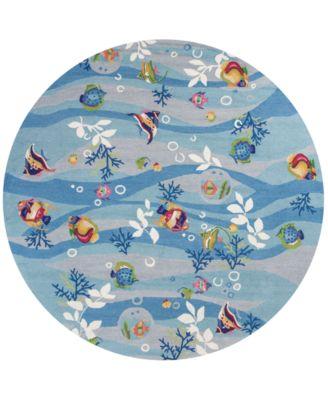 "Sonesta Tropical Fish 2011 Blue 7'6"" Round Area Rug"