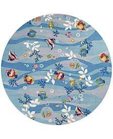 "Sonesta Tropical Fish 2011 Blue 7'6"" Round Area Rug"