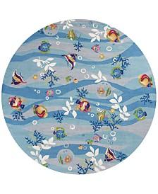 "KAS Sonesta Tropical Fish 2011 Blue 7'6"" Round Area Rug"