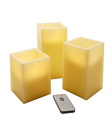 Lumabase Set of 3 Flickering LED Candles with Remote Control