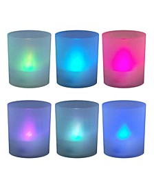 Lumabase Set of 6 Flickering Color Changing LED Lights in Frosted Votive Holders Cups